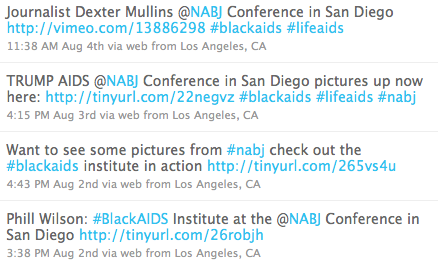 Tweets from Black AIDS Twitter account